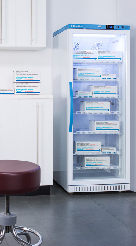 Upright 1 to 15 cu.ft. refrigerators designed and purpose-built for pharmacy, medical, and vaccination applications to support meeting CDC/VFC vaccine storage guidelines