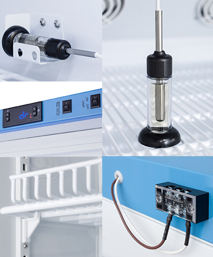 Accucold Product Perks: Door Alarm, Temperature Probe, Shelf Clips, and Data logger