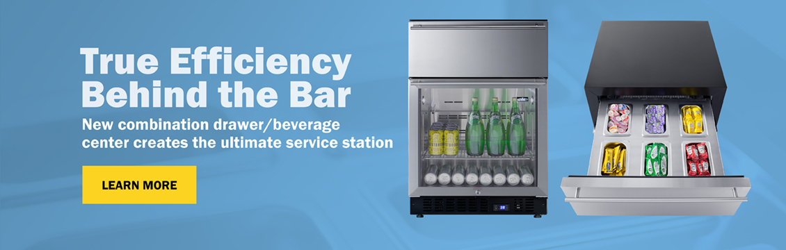 True Efficiency Behind the Bar: New combination drawer/beverage center creates the ultimate service station